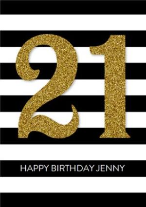 Greeting Cards - 21st Stripe Birthday Card - Gold 21st - Image 1