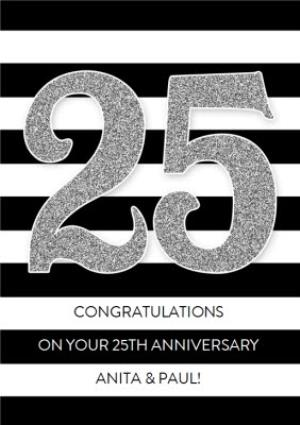 Greeting Cards - Black And White Striped Personalised Happy 25th Anniversary Card - Image 1