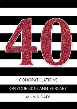 Greeting Cards - Black And White Stripe Personalised Happy 40th Anniversary Card - Image 1