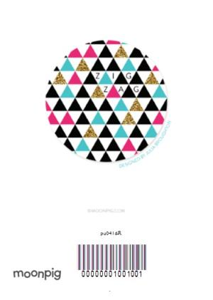 Greeting Cards - Triangles And Stripes Personalised Happy Birthday Card - Image 4