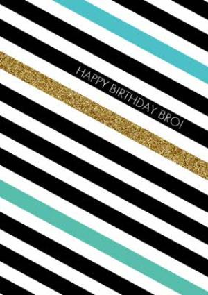 Greeting Cards - Black, White, Green And Blue Diagonal Stripes Personalised Happy Birthday Card - Image 1