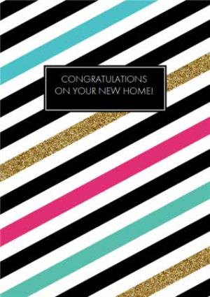 Greeting Cards - Diagonal Stripes Personalised New Home Card - Image 1