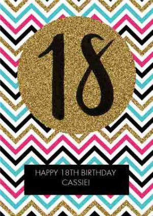 Greeting Cards - Multicoloured Zig Zag Personalised Happy 18th Birthday Card - Image 1