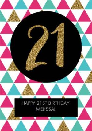 Greeting Cards - Metallic Geometric Triangle Happy 21st Birthday Card - Image 1